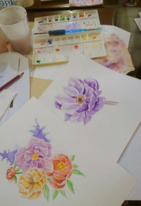 After a few layers, the flowers are brought to life.