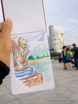 Urban Sketching at Merlion Park, Singapore