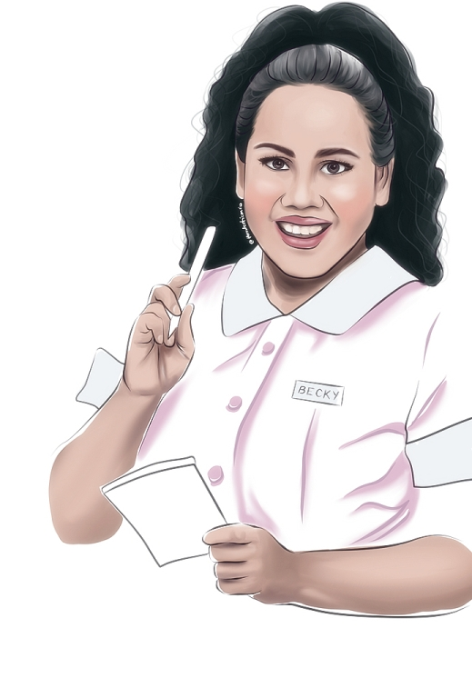 Bituin Escalante as Becky in Atlantis Theatrical's Waitress