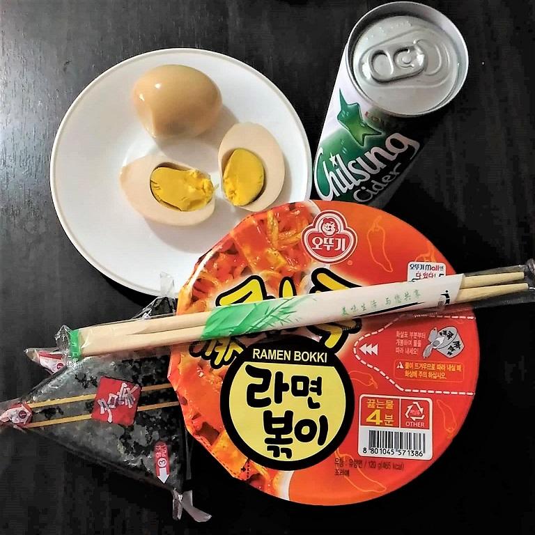 Ramen Bokki, Chilsung Cider, Sauna eggs, Triangle Gimbap
